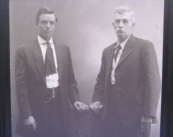 Vintage Cabinet Card Photo of Father and Son