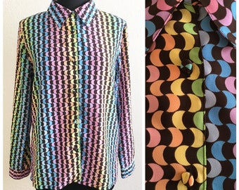 80s RAINBOW DISCO SHIRT / vintage blouse top collared button up black large xlarge gay pride lgbt colorful fun party spring summer fall