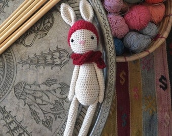 Ecofriendly organic cotton crochet amigurumi bunny doll toy