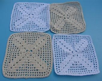 5pcs Cotton Crochet applique,13cm*13cm square applique