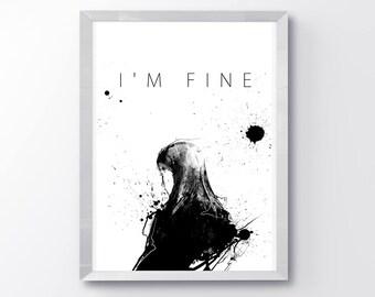 Fine, Minimalist Art, Girls Wall Art, Art Decor, Sad Art, Black and White Art, Home Wall Decor, Art Prints, Sad Girl, I'm Fine, Art Print