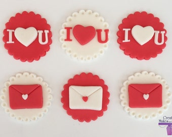 Valentines Day Love letter Heart Edible Cake Topper Sugar Fondant Decoration
