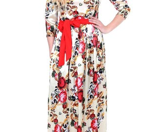 Atlas Maxi Dress Red Roses in Champagne Background 3/4 Sleeves