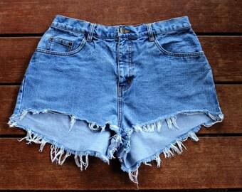Frayed Cutoff Shorts High Waisted Denim Shorts Light Wash 30 Waist