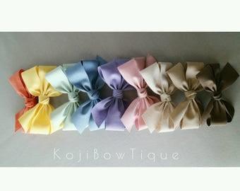 Spring~Linen fabric hair bow