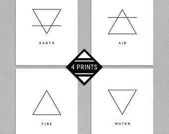 SALE 50% Four Elements Prints, Earth, Air, Fire, Water, Classical Elements, Magic, Minimalistic, Black And White, 16x20, INSTANT DOWNLOAD