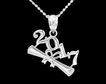 2017 Class Graduation Sterling Silver Pendant Necklace . Graduation high school college elementary middle school class 2017 pendant necklace