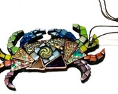 Colorful Crab Ornament, Rainbow Sea Creature Mosaic, Glass Art Hanging, Ocean Decor