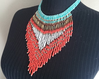 Summer Outdoors Native American Seed Bead Necklace Women Gifts Colorful Fringe Necklace Tribal Jewelry Fringe Jewelry Girls Party Gift Women