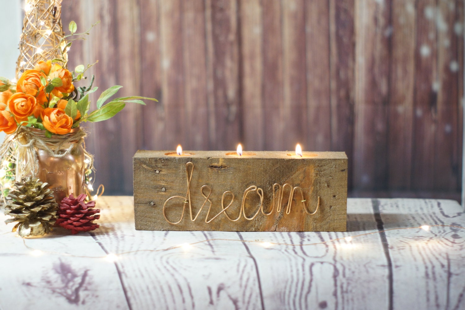 Dream Reclaimed Wood Candle Holder Modern Farmhouse Modern Rustic Decor Rustic Home Decor Rustic Accents Minimal Boho Fall Decor