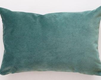 Green Velvet Lumbar Pillow Cover, lumbar throw pillow, green pillow cover, spring decorative pillow, velvet pillow cover