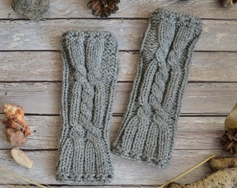 Knit gloves Arm warmers Womens gift Fingerless gloves Gift for her Gray gloves Cable knit gloves Wool gloves Wrist warmers Unisex gloves