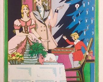 1920s Art Deco Pochoir Christmas Card