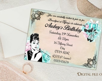 Digital Floral Personalised Breakfast at Tiffany's Invitations - Printable,Download,Party,Birthday,Audrey Hepburn