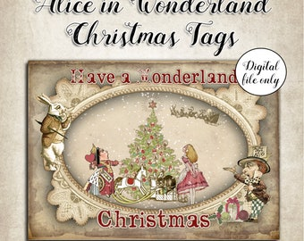 8 Digital Vintage Alice in Wonderland Christmas Tags,Toppers,Cards,Printable,Collage Sheet,Gift Tags,