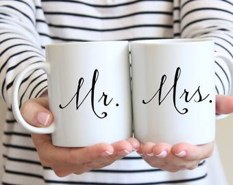 Mr and Mrs Mug - Mr and Mrs Coffee Mug - Mr and Mrs Cups - Mr and Mrs Wedding Gift Bride and Groom Mugs - Wedding Mugs Bride and Groom Gift
