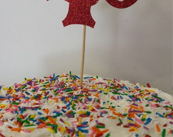 """40th Birthday  Cake   Toppers ..40th Anniversary cake toppers--SET OF 2----Number"""" 40 """" in Glitter-choose your Color"""