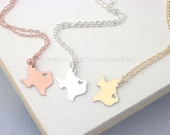 Texas Necklace, I heart texas Necklace, Gold Texas state necklace, Rose Gold Texas necklace