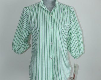 1980s Striped Blouse by Ace of Hearts, Size Medium Shirt Green White Unused Vintage Top