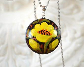 Pendant womens Jewelry black yellow jewelry boho pendant boho necklace gift for her birthday gift romantic gift floral necklace yellow gift