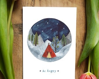 Be Happy Greetings card - Illustration by HattieHat