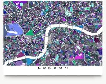 London Map, London England UK, Modern City Art Print