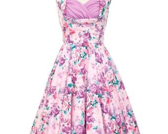 Summer Dress Lilac Floral Bridesmaid Dress Vintage Style Dress Sun Dress Floral Dress Purple Dress Pin Up Dress 50s Dress Tea Party Dress