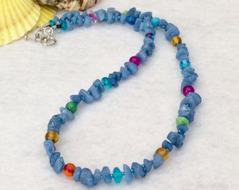Colorful Beaded Necklace Blue Summer Necklace Beaded Boho Colorful Necklace Boho Chic Beaded Necklace Blue Stone Chip Bright Necklace Gift