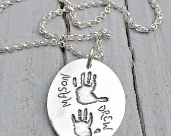 YOUR children's hand prints - Personalized Pendant - Womens Necklace - Baby handprint Jewelry - Twins - newborn baby keepsake
