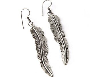 Long Feather Earrings handmade, White Brass, Hanging Feather Jewellery, Gift boxed, Free UK post