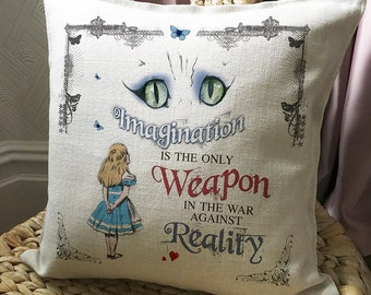 ALICE IN WONDERLAND Cushion Pillow Cover Cheshire Cat Imagination