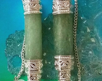 2 Large GREEN AVENTURINE Crystal Dowsing PENDULUM Divination Wands, with Crystal Quartz Point, Beaded Chain and 2 Velvet Storage Pouches