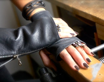 Gray Leather Gloves-metal zipper-spring 2017-gift for her-driving gloves-gray leather-fingerless gloves-mittens-Gloves-gray gloves-Leather