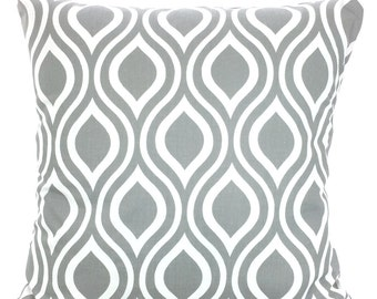 Gray Decorative Throw Pillow Covers, Cushions, Storm Gray White Nicole Geometric Couch Pillows, Euro Sham, Grey Pillow One or More All Sizes