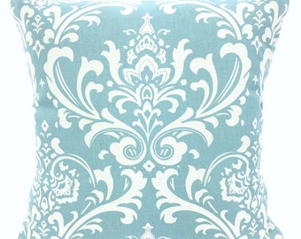 Blue Decorative Throw Pillow Covers, Cushions, Couch Pillows, Village Blue Damask, Euro Sham, Throw Pillow, Bed Pillow One or More All Sizes