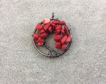 "1.15"" (29mm) Gunmetal Plated Copper Wire Wrapped Tree of Life Focal Pendant with Dyed Red Coral Chip Beads - Sold Individually/Random"