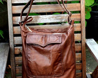 Handmade Leather Bag, Handmade Shopper Bag, Hobo Bag, Recycled Leather Bag, Leather Bag, Leather Tote, Leather Handbag, Reused Leather Bag