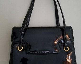 1960's PRESTIGE Small Black Patent Leather Handbag, Evening Bag