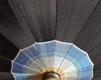 Vintage Midnight Blue Striped Umbrella.