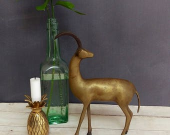 Brass Ram/ Ibex Antelope/ Antelope/ Ram/ Brass Figurine/ Large Brass Animal/ Large Ram Figurine/ Mid Century Modern Brass Ram/ Brass Gazelle