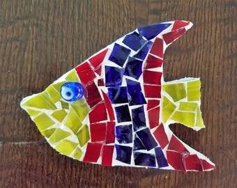 Tropical Fish Mosaic Outdoor Wall Hanging