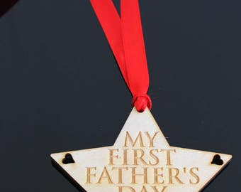 My First Father's Day Personalised Wooden Star Shaped Decoration & Gift Bag