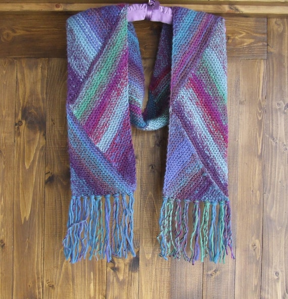 Knitting Pattern For Multi Directional Scarf : Hand knit multi coloured woolen scarf Hand knit wool fringed