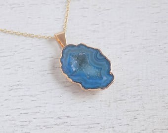 Gift For Her, Blue Druzy Necklace, Geode Necklace, Agate Necklace, Sliced Agate Pendant, Blue Agate Slice, Drussy, Gold Boho Layer, 8-308