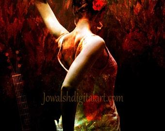 Fine Art Print 'Flamenco'. Spanish dancer, Spain, gothic, woman, Flameno, Spanish dance. By JoWalshArt