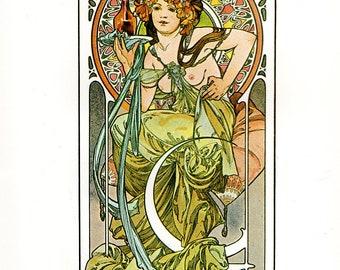 """Alphonse MUCHA 1976 Authentic Vintage Art Nouveau PRINT """"Nectar"""""""