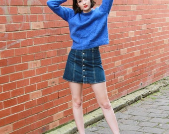 Vintage 1980s Electric Blue Mohair Sweater / Cobalt Blue / Mohair Jersey / S/M