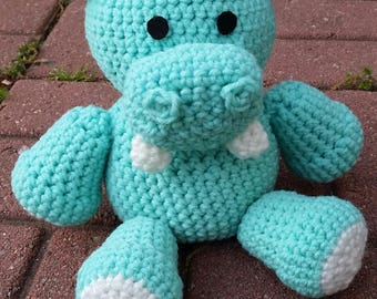 Soft Mint Green Handmade Hippo, Stuffed Animal, Hippo Stuffed Animal, Turquoise Hippo, Crochet Hippo, Hippo Plush, Hippo Toy, Hippos