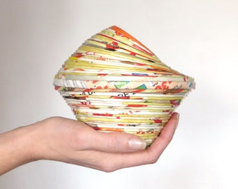 Home Décor Colorful Paper Pencils Pot Orange Yellow Vase Handmade Recycled Upcycled Eco Friendly Design First Anniversary