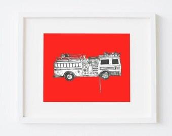 Toy fire engine print - Colour choice - Fire engine art - Fire engine decor - Kid's nursery art - Playroom toy art - 8x10 11x14 print